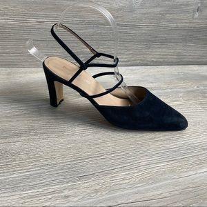 Dark navy leather pointed toe elastic strap shoes